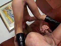 Salacious light-haired hooker sucks large cock and gets her inviting asshole doggyfucked. Then she gets buttfucked riding that tool on top and buddy bonks her anus in a pile driver pose.