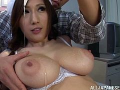 Hot Japanese amateur with huge natural boobs sucks two hard cocks and gets nailed hard to end up getting her cute little face covered with cum.