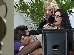 It's pretty amazing for these slutty secretaries to have the horny boss ready to devour both their creamy vags