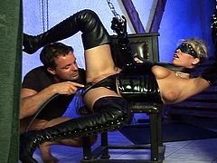 Watch this bitch in latex being sucked and fucked hard by this guy. She is tied up and seems to be enjoying BDSM sex
