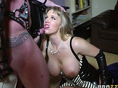 Lewd blonde mom Rebecca Moore dominates Peter Oh Toole in the kitchen. Then she gives a blowjob to the dude and they fuck in the cowgirl and other positions on the floor.
