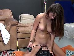 Long and black haired lassie with big droopy titties got her kitty hammered by several big sex tools. Her freaky stud helped her a bit. Take a look at this zealous wench in MY XXX Pass sex clip!