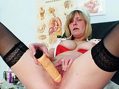 Kinky nurse, Agnesa, really knows how to smash her wet fanny during solo event while masturbating like a true slut