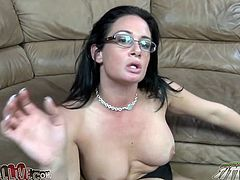Black haired four eyed sweetie with big tits lied on sofa with her legs spread apart. Her fuck thirsting man set to eat her wet pussy passionately.. Enjoy it in My XXX Pass sex clip!