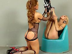 Couple of torrid well stacked MILFs in black fishnet suits Silvia and Michelle rock the show with lesbian action. Babes go down on each other and fondle each other's juicy asses.