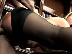 Light haired vixen with big tits lies on her boss's desk getting her wet quim licked and fucked missionary style. Saucy babe bends over and gets rammed doggystyle balls deep.
