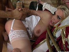 Jaw dropping blonde enjoys watching horny dude eating her shaved pussy. Then he inserts his hard dick in her muff and drills her without mercy.