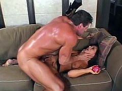 Check this brunette MILF, with natural breasts wearing fishnet stockings, while she goes hardcore with a muscle man and moans like a horny cougar!