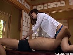 A stunning Japanese girl licks guy's nipples and sucks his dick. Shiho also gets her hot pussy licked and fucked properly.