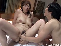 Chisato Shohda spreads her legs for a naughty dude and lets him drill her any way he likes. She screams and shouts as he gives it to her good.