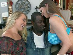 AJ Applegate and Brooklyn Chase are in the mood for big black cock. They go topless and show their sexy juicy tits to black guy before they suck his really big thick chocolate dick.