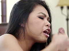 Naughty Asian chick swallows hard shaft on a pov camera. Then dude drills her throat without mercy and cums in her mouth hole. This extremely deepthroat blowjob sex movie is everything you need.
