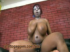 Fatty ebony in a ghetto paint face got fucked by a white male who is in love with bbw bodies like this one. Look at his massive tits and ass bouncin as she rides her in cowgirl position