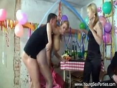 Make sure you don't miss this amazing party with horny birthday sluts. Watch as they all get on their knees to suck cock before riding it so nasty like sluts.