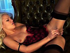 The voluptuous babe Evelyn is wearing the extremely provocative lingerie and she is ready for some pussy pleasing time. Watch her as she enjoys reaching one orgasm after another.