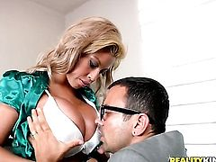 Voodoo seduces Blonde Bridgette B into fucking and puts his toolin her butthole after dick sucking