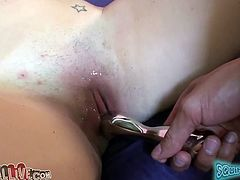 Hot blooded freaky guy decided to play dirty games with his brunette chick. This small breasted wench lied in missionary pose and got her saggy twat pounded by several sex toys hard. Look at this feverish stud in My XXX Pass porn video!