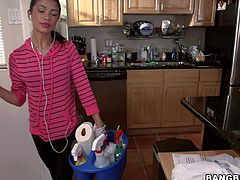 Petite sexy girl Veronica Rodriguez is a sexy cleaning lady with nice tight body. She cleans the house properly in front of the camera and then gets naked to take a shower. She shows her perky tits and ass with no sham