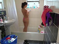 Petite sexy girl Veronica Rodriguez is a sexy cleaning lady with nice tight body. She cleans the house properly in front of the camera and then gets naked to take a shower. She shows her perky tits and ass with no shame.