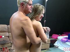 Bodacious fair haired sweetie posed on knees and set to suck that sugary lollicock ardently. Her skilled blond babe sat on coach and watched that hot BJ. Look at that awesome FFM fuck in My XXX Pass porn video!