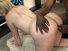 Attractive and sexy blond haired bitch with nice ass gets her dripping pussy fucked hard by the black guy. Have a look at this whore in Fame Digital sex video.