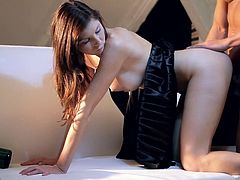 This stunning brunette just loves to fuck, and doggy is one of her favorite sex positions. Check out this passionate sex video and I'm sure you'll like it.