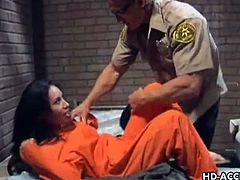 Checkout this sexy brunette Taylor Rain in a sexy prison scene with her guard. She is turned on by him immensely and shares him with her cellmate. They both suck his cock and give him a deep throat blowjob. Her pussy is fucked deep but then her ass is fucked even deeper. Watch her suck and get fucked hard.