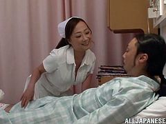 The sexy nurse Azusa Ishihara will do anything to make her sick patient feel better, even letting him fuck her tight little pussy.