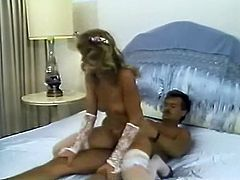 Light and curly haired wanton cougar in white lingerie gets her hairy kitty pounded in reverse cowgirl style. have a look at that awesome sex in the Classic Porn sex clip!
