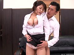 A super sexy Asian girl with big, natural tits and a fantastic body enjoys a hardcore, doggy style fuck in her boss's office. Hear her scream with pleasure now!
