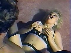 Curly haired lusty mommy in sexy black lingerie blows hard lollicock of her man greedily. Then enjoys getting her wet kitty pounded from behind.Watch that dirty fuck in The Classic porn sex clip!