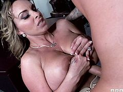 Take a look at this mature bitch as she gets to suck on a fat penis. It makes her so horny that she just can't wait to feel it inside of her pussy.
