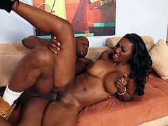A nasty ass bitch sucks on this black dude's hard cock and takes it balls deep into her fuckin' gash, check it out right here!