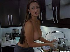 sexy Sofia is a big breasted maid who is ready to show her perfect big melons for money. She strips out of her maid uniform and removes her black bra before she plays with her huge tits for the camera.