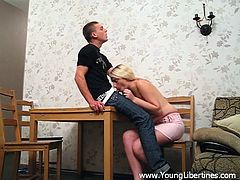Lascivious light-haired skank sucks erected dick and gets her muff screwed mish. Then she rides that cock in a reverse cowgirl pose and gets doggyfucked.