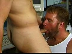 Sweaty bearded bastard actively sucks his brunette partner's dick and then he gets the same pleasure. Then bearded gay gets her asshole nailed doggystyle and fucks muscle stud in missionary pose.