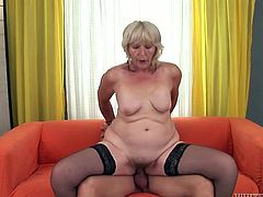 Ugly light haired granny with nasty figure gets her stinky cunt satisfied in mish and reverse cowgirl positions by staff penis of that young boy. Enjoy that disgusting sex in Fame Digital porn video!