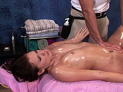 The ravishing babe gets her body completely oiled up during a massage. It makes both of them extremely horny that he just has to slide in his dick.