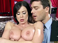 Busty goddess gets her twat licked before providing dude with blowjob and titfuck. She rides dick on top and gets screwed in a sideways pose. Then she gets doggyfucked until dude cums on her face.