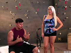 The sexy ass Nikki Phoenix takes training to another level when she sucks her trainer's big hard cock and gets her cute face jizzed.