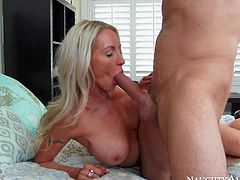 Emma Starr is s good looking mature blonde with incredibly sexy big fake tits. This well-stacked cougar with hard body gets her fuck hole filled with hard young dick and loves it so much!