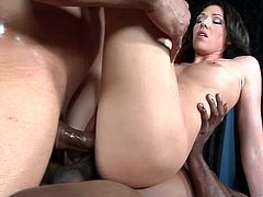 Insatiable raven-haired seductress with juicy ass gets her snatch drilled mish and rides BBC in a cowgirl pose while giving a head to other stud. Then she gets double penetrated.
