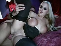 The kinky slave is tied up and he is getting his cock sucked by a couple of hot mistresses. See how much they enjoy playing with him.