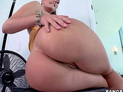 Alison Tyler is one naughty adult model with monster curves. Sge exposes her unbelievably big heavy tits and her huge ass. She shows it all as she poses on a chair in the middle of the room.