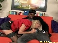 Watch this sexy blonde milf babe Bridgett Lee in this interracial video, where she sucks that big hard black cock and then gets her lusty pussy fucked hard and deeply.