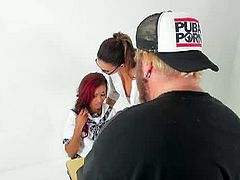 Watch behind the scenes of the making of lesbian sex featuring Alison and Skin. Watch how they film this fantastic video of two hot girls making out in front of the camera