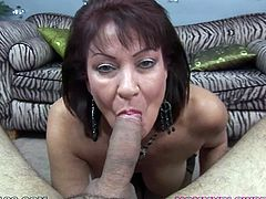 That horny freak adores his old dark haired sex pot. Her mouth and big tits make miracles. Deep throat and titfuck is what this hooker really can do perfectly. Take a look at this old whore in My XXX Pass porn video!