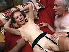DO not think this LinDa this guyre is a Fragile grAnny for sthat guy's definitely not. this Horny grandMa Even MAnages to service couple Horny Men by sucking one of thEm wHile having that chabr pussy fucked. watch that hot Mature writthis chap and Moan as that babe's filled hard inside tsalutes hot threesome.