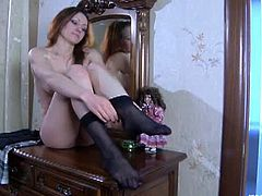 Nylon Feet Line brings you a hell of a free porn video where you can see how this lovely brunette puts her stockings on and poses for your enjoyment. She's ready to be bad!