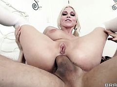Erik Everhard gives charming Christie Stevenss mouth a try in oral action after anal fun